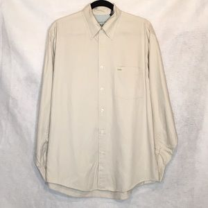 Izod Medium Shirt Tan Button Down Front Cotton